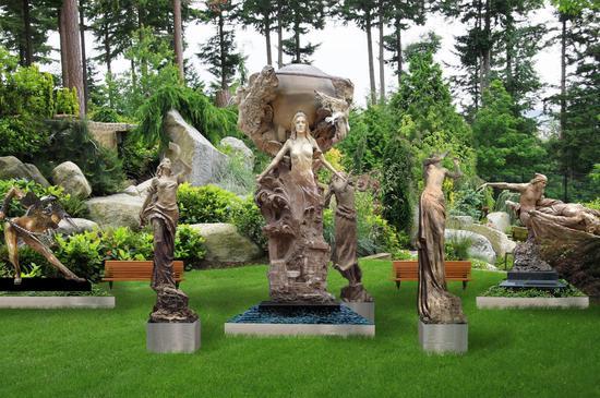 大型群体雕塑《欢乐女神》(效果图)